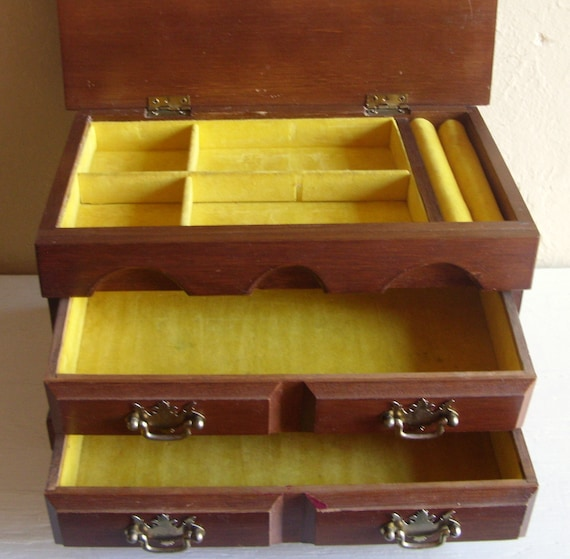 Vintage Wood Jewelry Box with Mustard Yellow Velvety Interior Large