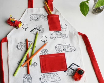 Kid's apron with cars screenprinted for coloring - Cute children's apron - Apron for children from 2 or 3 years old