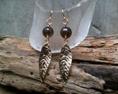 Celine Earrings / Smoky Quartz & Gold or Silver Leaves