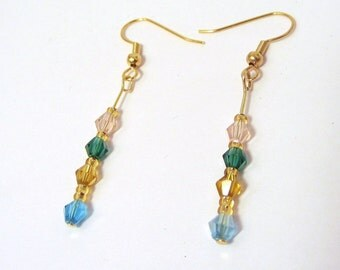 Sparkling Crystal Earrings,   Beaded jewelry , Multi-color Dangles