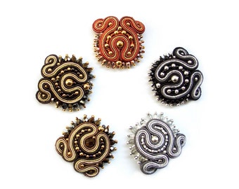 Soutache studs (optional clips or earrings) sparkling, elegant and sexy - Marie Antoinette 3