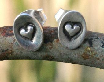 Sterling Silver Oval Post Earrings - Valentine Sweet Hearts