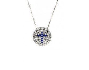 Free Domestic Shipping Sterling Silver Round Cz Dark Blue Cross Necklace Cross, Blue, CZ, Cubic Zirconia Unique, Modern, Necklace, Religious