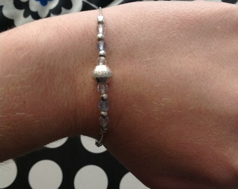 Sterling Silver Bracelet with Silver and Blue Beads