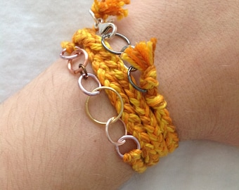 Grown Up Friendship Bracelet-Shades of Yellow, Gold, Orange READY TO SHIP