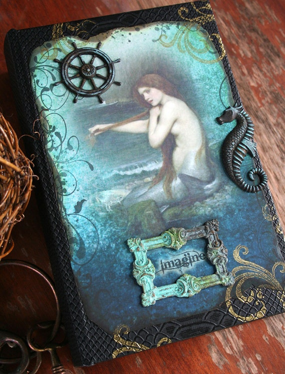 SUNKEN TREASURE altered heirloom steampunk mermaid secret book box jewelry box