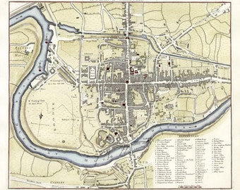Chester 1795. Antique Town Plan of Chester, England by J.Mutlow - MAP PRINT