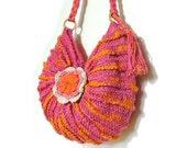 Handmade Pink Crochet Bag / Cross-body crochet bag