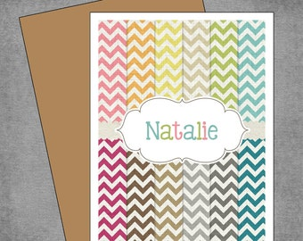 Rainbow Chevron Note Cards - Personalized Note Cards - Flat or Folded - 4.25x5.5 inches - Design: Evelyn