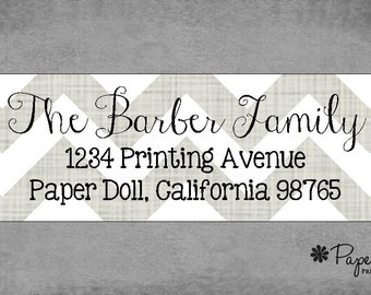 Modern Grey Chevron Return Address Labels - Assorted Colors Available - Stickers - Special Occasion, Christmas, or Birthday Gift.