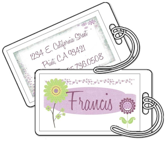 Bag Tags - Set of 2 Personalized Shimmer Bag Tags Laminated - Lime and Lavendar Flowers
