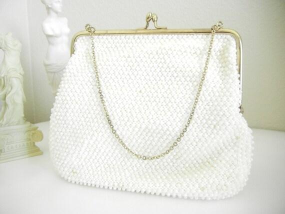 Off White Pearl Beaded Clutch Purse / Corde-Beads Clutch Purse / Circa1940s-1950s