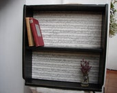 French shabby chic,chateau noir/black distressed/old wooden shelves/music sheet back