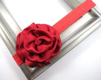Red Flower Headband - Red Headband - Holiday Headband - Valentines Day Headband - Toddler Child Teenager Adult Headband - Headband