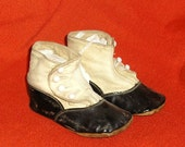 Victorian High Button Baby Shoes Black & White Leather Spats