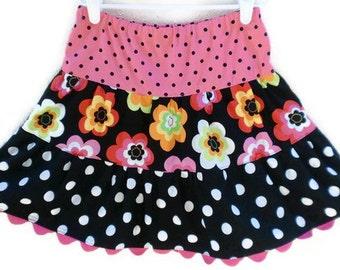 Last One Size 5T, Retro Daisies Twirl Skirt, Neon Pink Skirt, Girl Skirt, Toddler Skirts, Little Girls Skirts, Handmade Skirts, Twirl Skirt