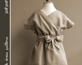 Kimono Dress - PDF Pattern - Size 12 months to 8 years old and tutorial, PDF Downloadable, Easy Pattern