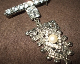 Rhinestone and Marcasite Brooch with Pearl Bar Brooch with Dangle
