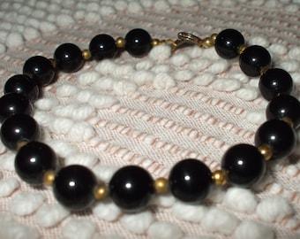 Vintage Bracelet Black and Gold Beaded Bracelet