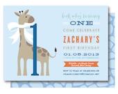 Blue Giraffe Invitations - First Birthday