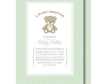Teddy Bear Gender Neutral Shower Invitations