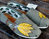 Yellow and gold feather Dream Catchers on Olive Green TOMS