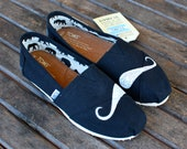 Custom Hand Painted Mustache Black Classic TOMS shoes