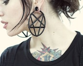 Small Leather Pentagram Hoop Earrings