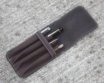 Fountain Pen Leather Quadruple Pen Case Brown Distressed