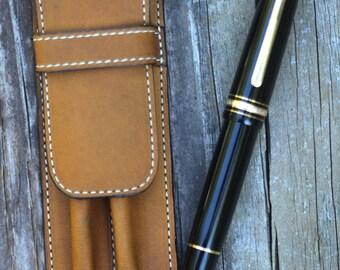Leather Double Pen Case Antique Gold