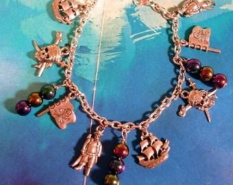 Pirate Bracelet.   Antiqued Pewter  Finish  Charm Bracelet.. Buccaneer Theme.