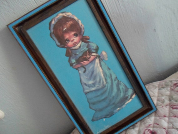 Kitsch Hollie Hobby Holding a Sweet Kitten Painting in Plastic Woodtone Frame