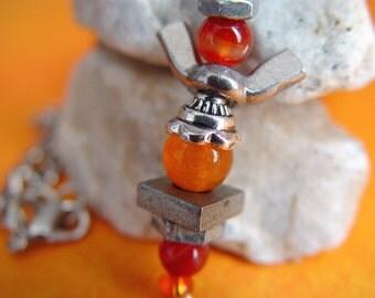 Healing Orange & Silver Wingnut Angel Charm Necklace