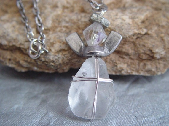 Wire Wrapped White Glass Stone & Silver Wingnut Angel Charm Necklace