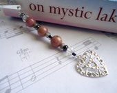 Rhodonite beaded bookmark, metal bookmark, pink heart, shepard hook, shepherds hook