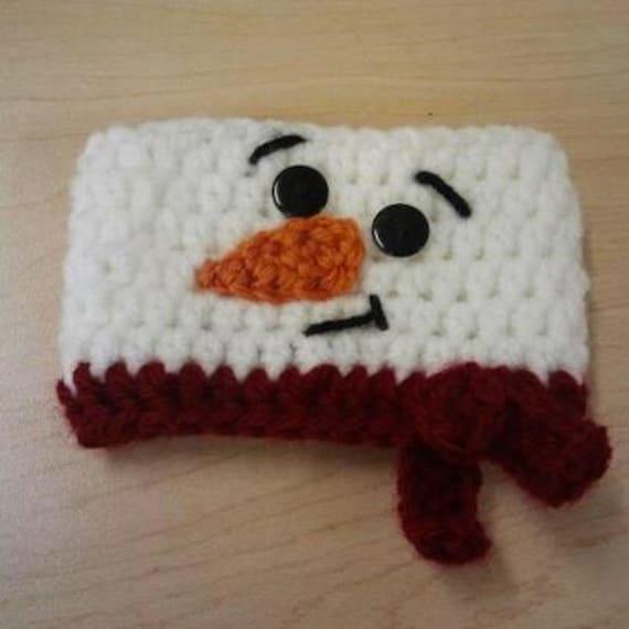 Snowman Crochet Coffee Cozy, Crochet Coffee Sleeve