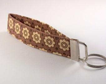 Wristlet Key Fob in Brown with Beige Flowers