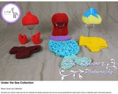 Little Mermaid Ariel Flounder Sebastian hat and diaper cover costume collection (newborn props and family costumes)