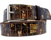 Men belt -  women bel - FLORAL GUITAR FRETBOARD / Cool leather belt
