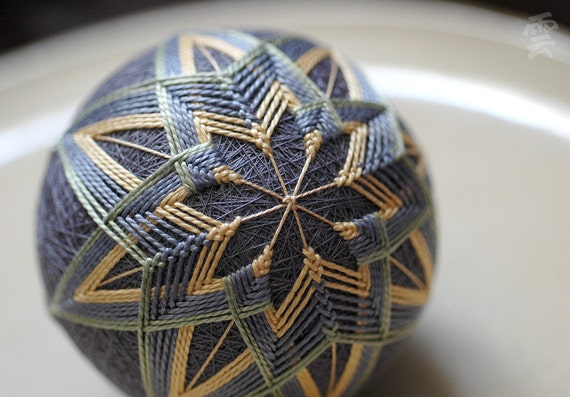 I Shut My Eyes in Order to See - Japanese temari - free US shipping - home decor ornament - gray yellow embroidery - crafting for a cause
