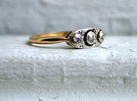 Sweet Antique 18K Yellow Gold Diamond Three Stone Engagement Ring.