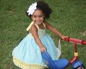 Girls Bandana dress, toddler bandana dress, boutique dress, size 6 mon, 12-18 mon, 18-24, 2t, 3t, 4t, 5t, 6x, 7 and 8