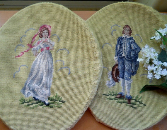 Price Reduced ... Pair of Vintage Needlepoint Pinkie and Blue Boy