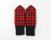 Hand Knitted Mittens - Black and Red, Size Medium