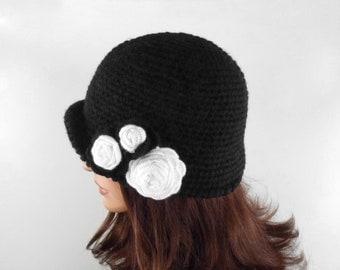 Crochet Cloche Hat with Flower - Black