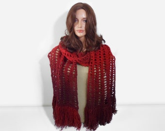 Chunky Crochet Scarf - Red