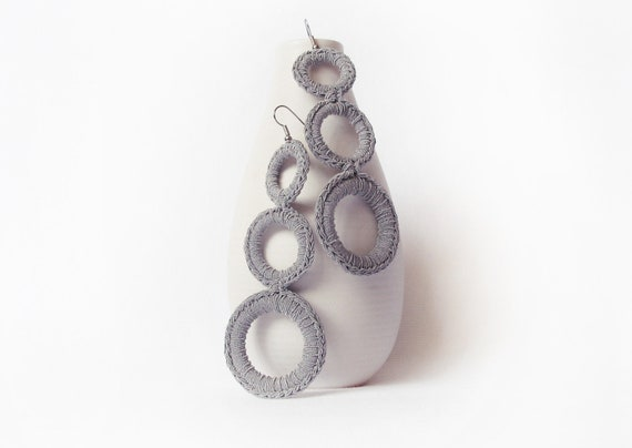 Modern Crochet Earrings / Long Dangle Hoop Earrings / Crochet Circles earrings/  Handmade Fashion Jewelry / Light Cloud Grey / Neutral