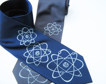 Three Atoms Silkscreen Necktie. Microfiber screen printed science geek tie.