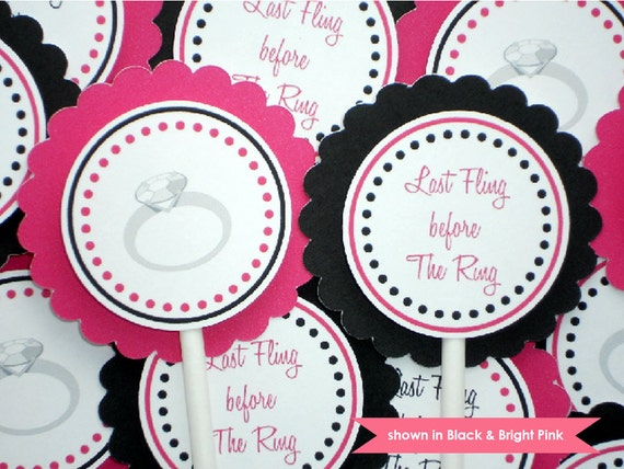 Engagement Ring Cupcake Toppers - Bachelorette Party Decoration - Customized and Personalized