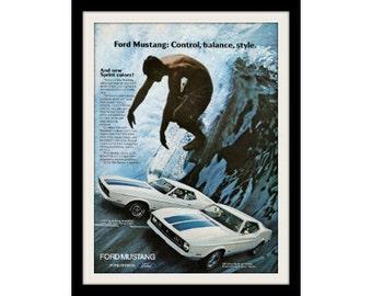 "1972 FORD MUSTANG & Surf Car Ad ""Making Waves"" Vintage Advertisement Print"